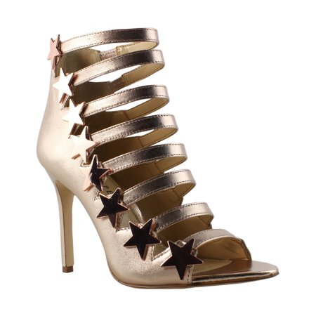 Katy Perry Womens KP0001-710 Gold Open Toe Heels Size 9 New