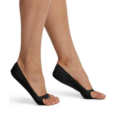 Gi Cushion Sole Socks - hue women's classic open toe liner sock with cushioned sole, black, s/m