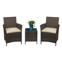 Walnew 3 PCS Outdoor Patio Furniture PE Rattan Wicker Table and Chairs Set Bar Set with Cushioned Tempered Glass (Brown/Beige)