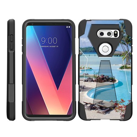 TurtleArmor ® | For LG V30 / LG V30+ / LG V30 Plus [Dynamic Shell] Dual Layer Hybrid Silicone Hard Shell Kickstand Case - Swimming
