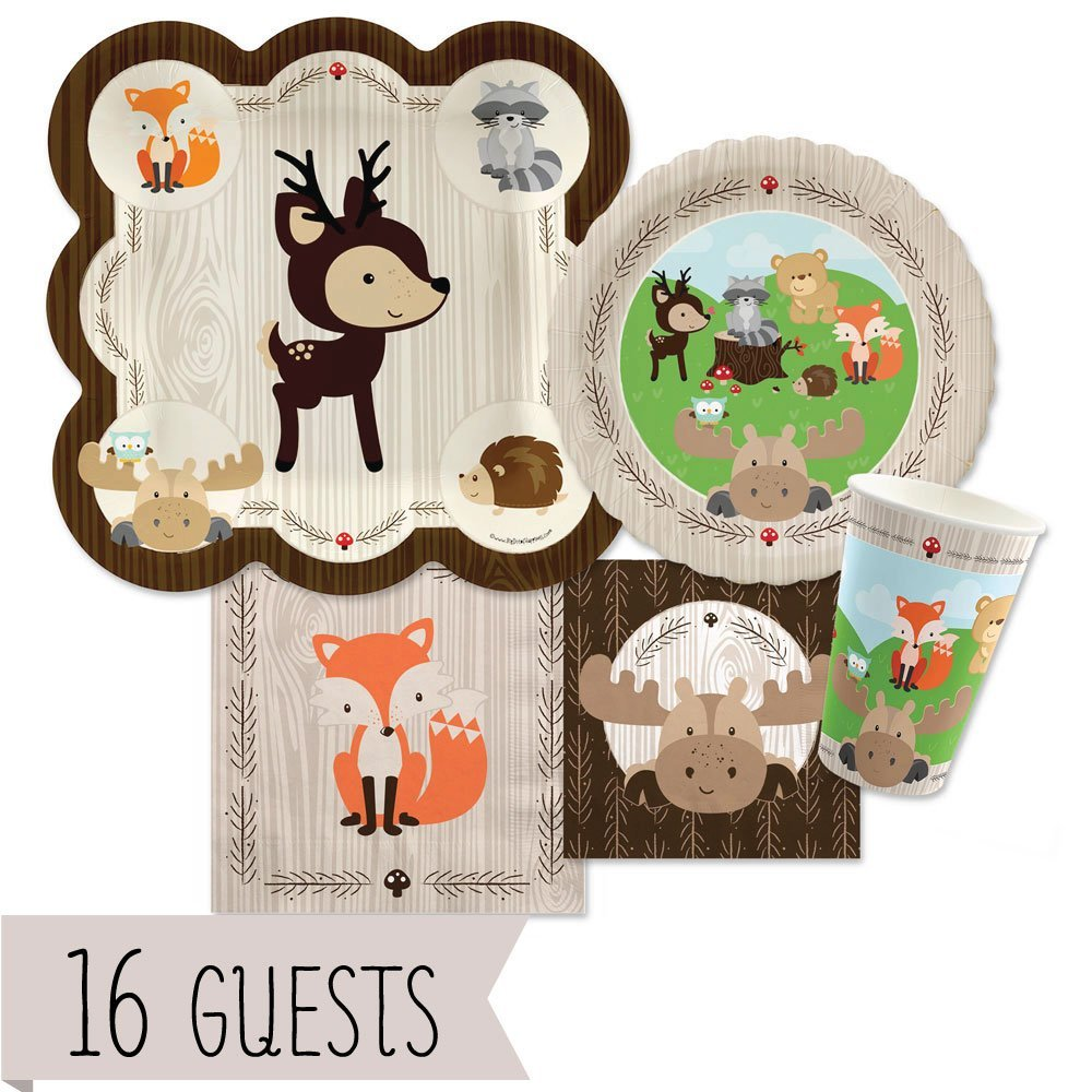 Woodland Creatures - Party Tableware Plates, Cups, Napkins - Bundle for 16