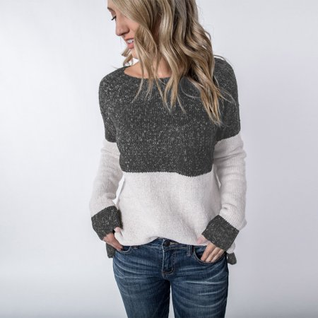 Women's Round Neck Knitted Long Sleeve Wrap Button Front Black and White Loose Wool Warm Fashion Tops Sweater Pullover Jumper