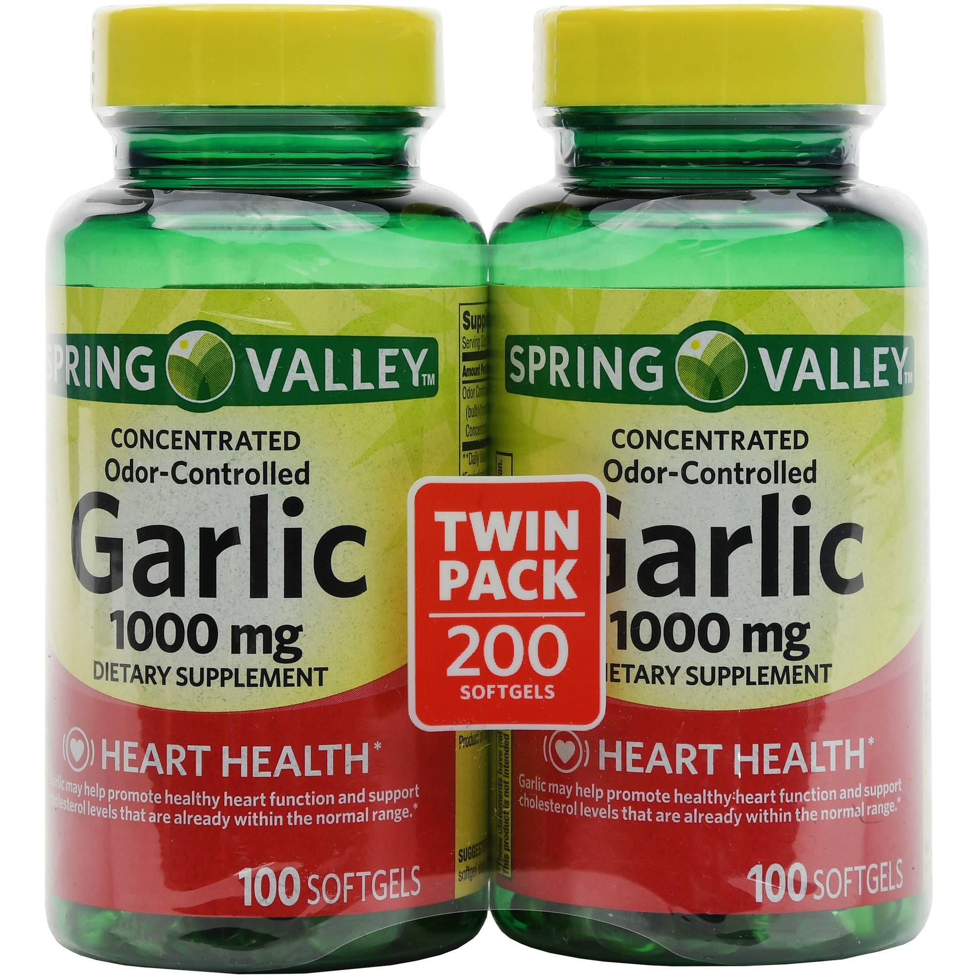 Spring Valley Odor-Controlled Garlic Herbal Supplement Softgels, 100 count, 2 pack