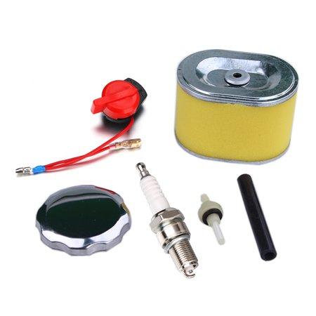 Spark Plug+Air Filter & Fuel Filter+Fuel Cap with Hose Line Set for Honda  GX160 5 5HP & GX200 6 5HP,Honda GX160 Spark Plug Kit