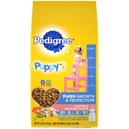 PEDIGREE Puppy Growth & Protection Dry Dog Food Chicken & Vegetable Flavor, 3.5 lb. Bag