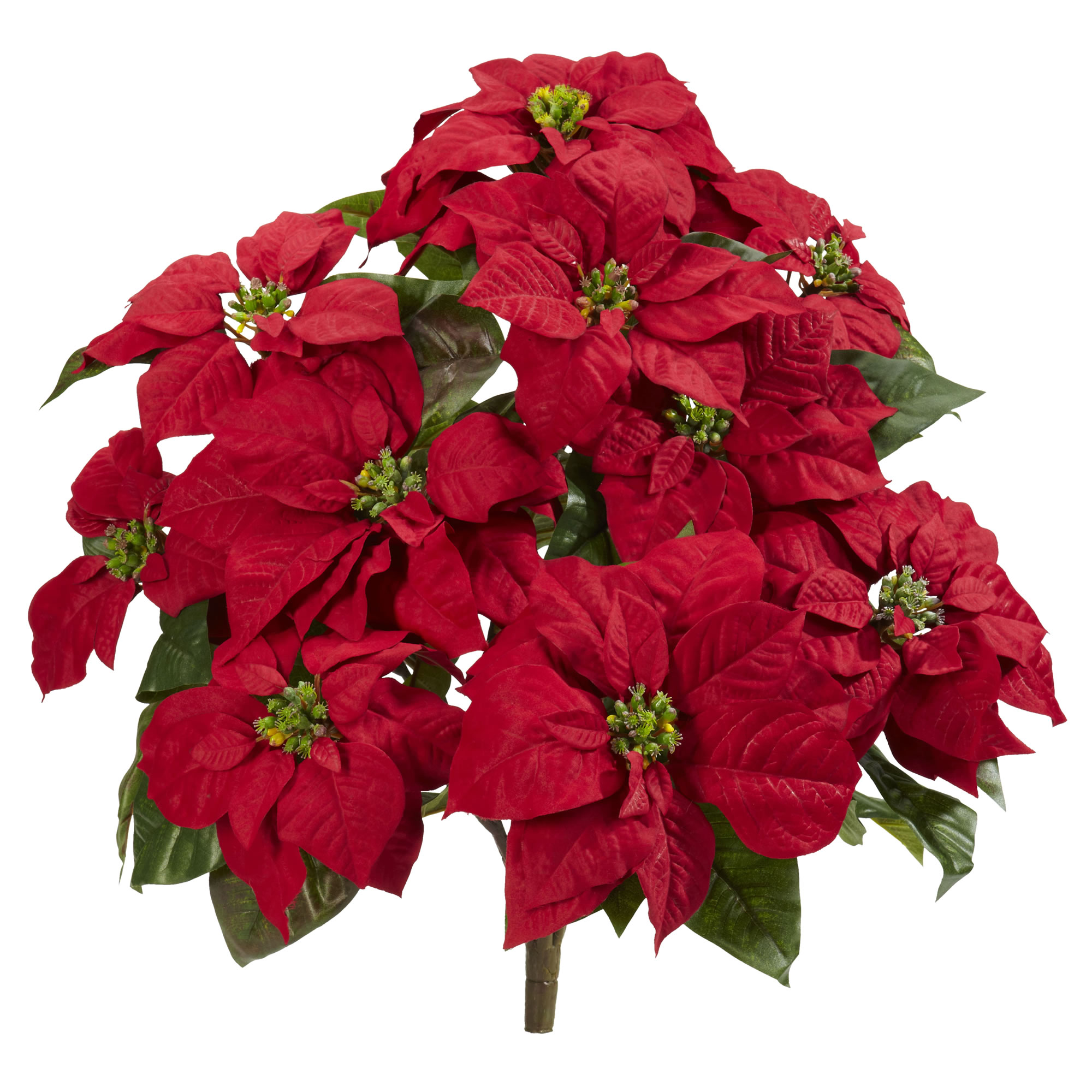 """Nearly Natural 24"""" Poinsettia Artificial Plant (Set of 2)"""
