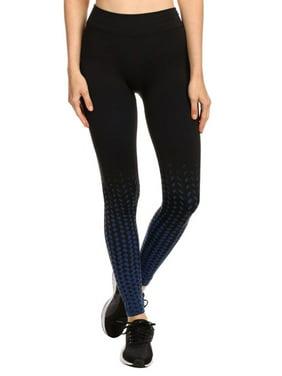 5f92da46a6f26 Product Image Ombre Design Seamless Fleece Lined Exercise Leggings,  Black/Blue, LXL