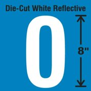 STRANCO INC DWR-SINGLE-8-0 Die-Cut Reflective Number Label, 0