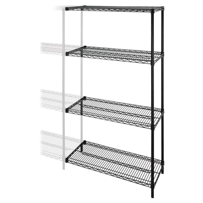 "Add-On-Unit,f/Wire Shelving,4 Shelves/2 Posts,48""x24"",Black LLR69137"