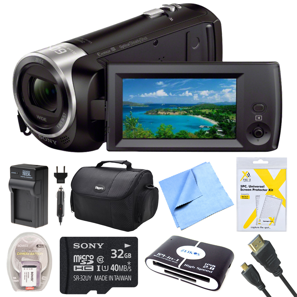 Sony HDRCX405 HDR-CX405 CX405 Video Recording Handycam Camcorder Bundle With Deluxe Bag, 32GB Mico SD Card, AC/DC Charger, HDMI Cable, Battery Pack, and More