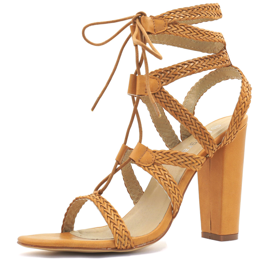 Unique Bargains Women's Chunky High Heels Strappy Lace-Up Sandals