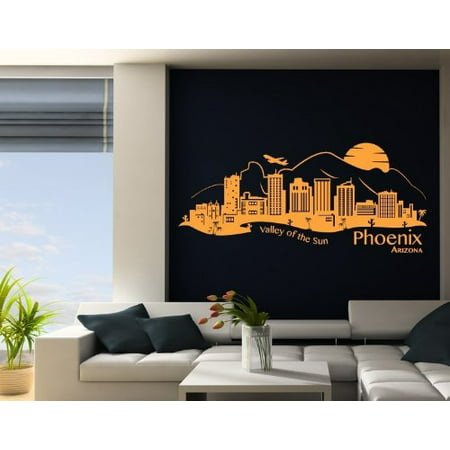 Phoenix City Skyline Wall Decal - cityscape wall decal, sticker, mural vinyl art home decor - 4284 - White, 31in x 9in