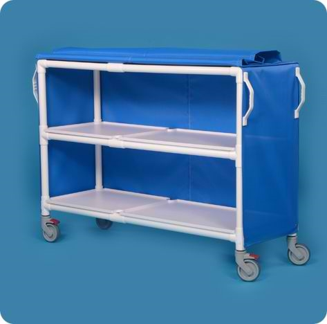 Deluxe Linen Cart with Two Shelves - LC602BM - Blue Mesh Cover