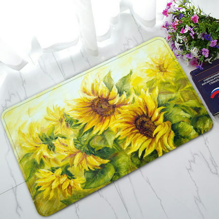 PHFZK Oil Painting Doormat, Sunny Nature Art Sunflower Sunflowers Landscape Yellow Doormat Outdoors/Indoor Doormat Home Floor Mats Rugs Size 30x18 (Nature Nap Mat)
