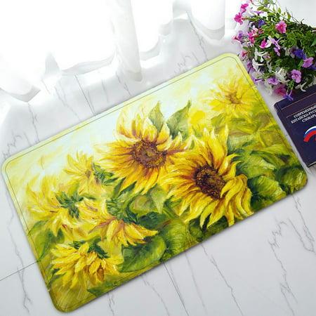 PHFZK Oil Painting Doormat, Sunny Nature Art Sunflower Sunflowers Landscape Yellow Doormat Outdoors/Indoor Doormat Home Floor Mats Rugs Size 30x18 inches ()