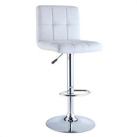 Quilted adjustable height bar stool white faux leather for Walmart bar stools
