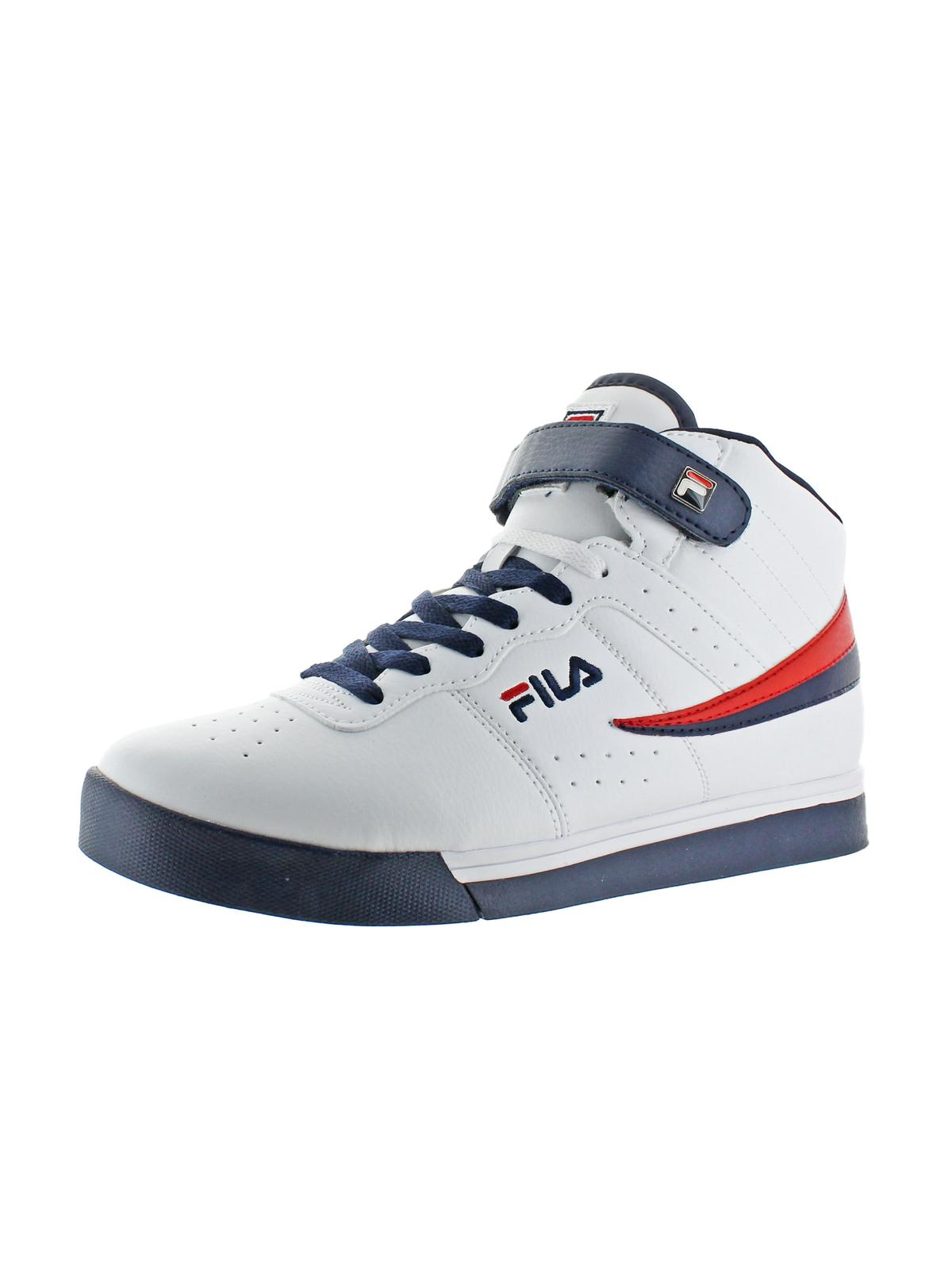 Fila Mens Vulc 13 Faux Leather Contrast Trim High Top Sneakers by Fila