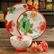 The Pioneer Woman Vintage Bloom 12-Piece Dinnerware Set, Red