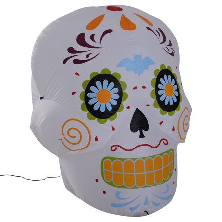 HOMCOM 4' LED Outdoor Halloween Inflatable Decoration - Day of the Dead Sugar