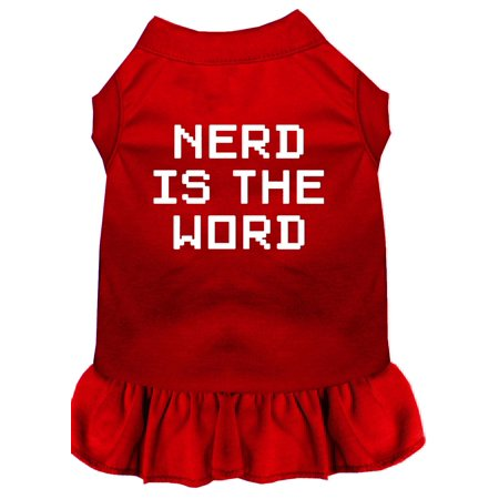 Nerd Is The Word Screen Print Dress Red Xs (8)