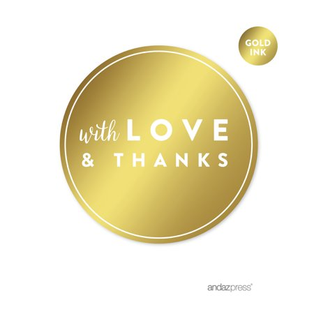 With Love and Thanks Gold Metallic Gold Round Circle Favor Gift Label Stickers, 40-Pack