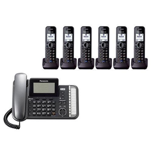 Panasonic KX-TG9586B DECT 6.0 2-Line Operation 7 Handset Phone System Digital Answering System by Panasonic