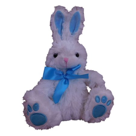 Animal Adventure Plush Bunny Stuffed Animal White Rabbit Pal With Blue Bow