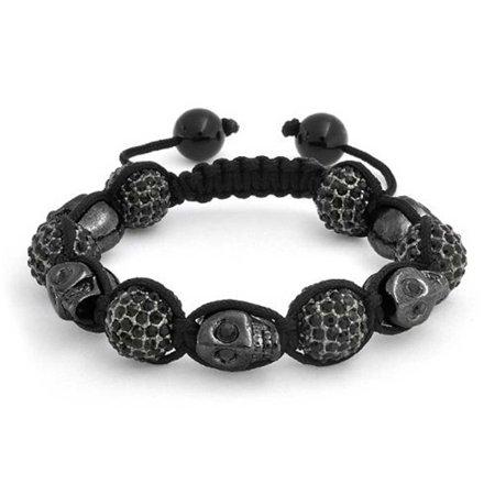 Black Gun Metal Skulls Black Pave Crystal Ball Shamballa Inspired Bracelet Women Men Black Cord String - Padme Gun