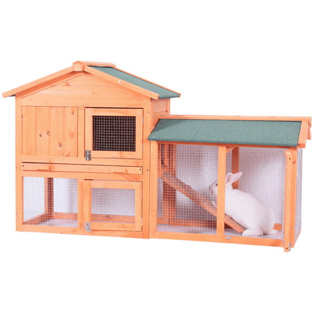 CLEARANCE! Pet Cat House for Small Animals, 54.5''X 17'' X 33.5'' Wood Bunny Cage with Non-Slip Timber Ridges, Raised Houses, Removable Tray & Ramp Chicken Nesting Box for Backyard, (Best Bunnies For House Pets)