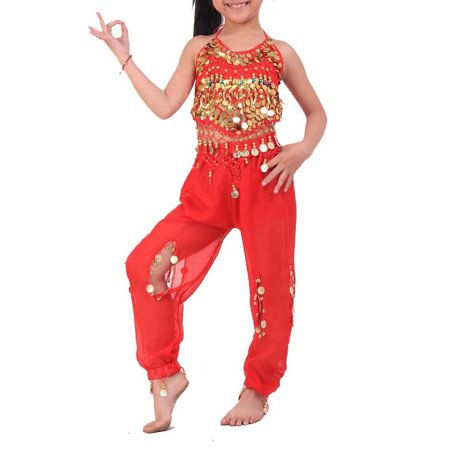 BellyLady Kid's Tribal Belly Dance Halter Top & Harem Pants, Gift (1990's Party Costume Ideas)