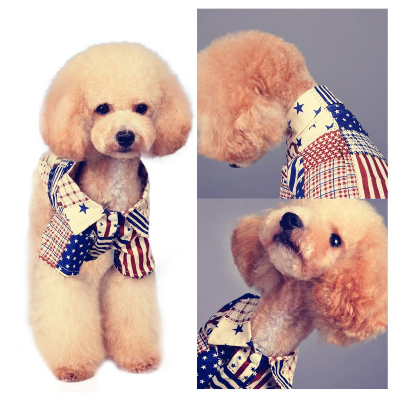 Summer Pet Dog Shirt Clothes With Flag Printed Cotton Shirt Dog Vest