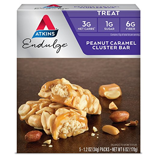 Atkins Endulge Peanut Caramel Cluster Bar, 1.2oz, 5-pack (Treat)