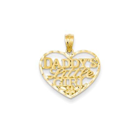 14kt Yellow Gold Daddys Little Girl Heart Pendant Charm Necklace Love Fine Jewelry For Women Gift Set