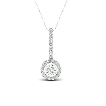 IGI Certified 1/4Ct TDW Diamond 10K White Gold Single Stone Halo Necklace (H-I, I2)