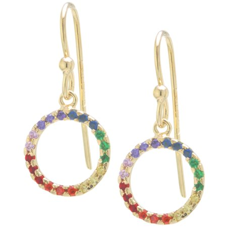 Fine Gold Plate Over Sterling Silver Rainbow CZ Open Circle Drop Earrings ()