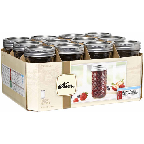 Kerr Regular Mouth Quilted Crystal Jelly Jars with Lids and Bands, 12 oz., 12 Count