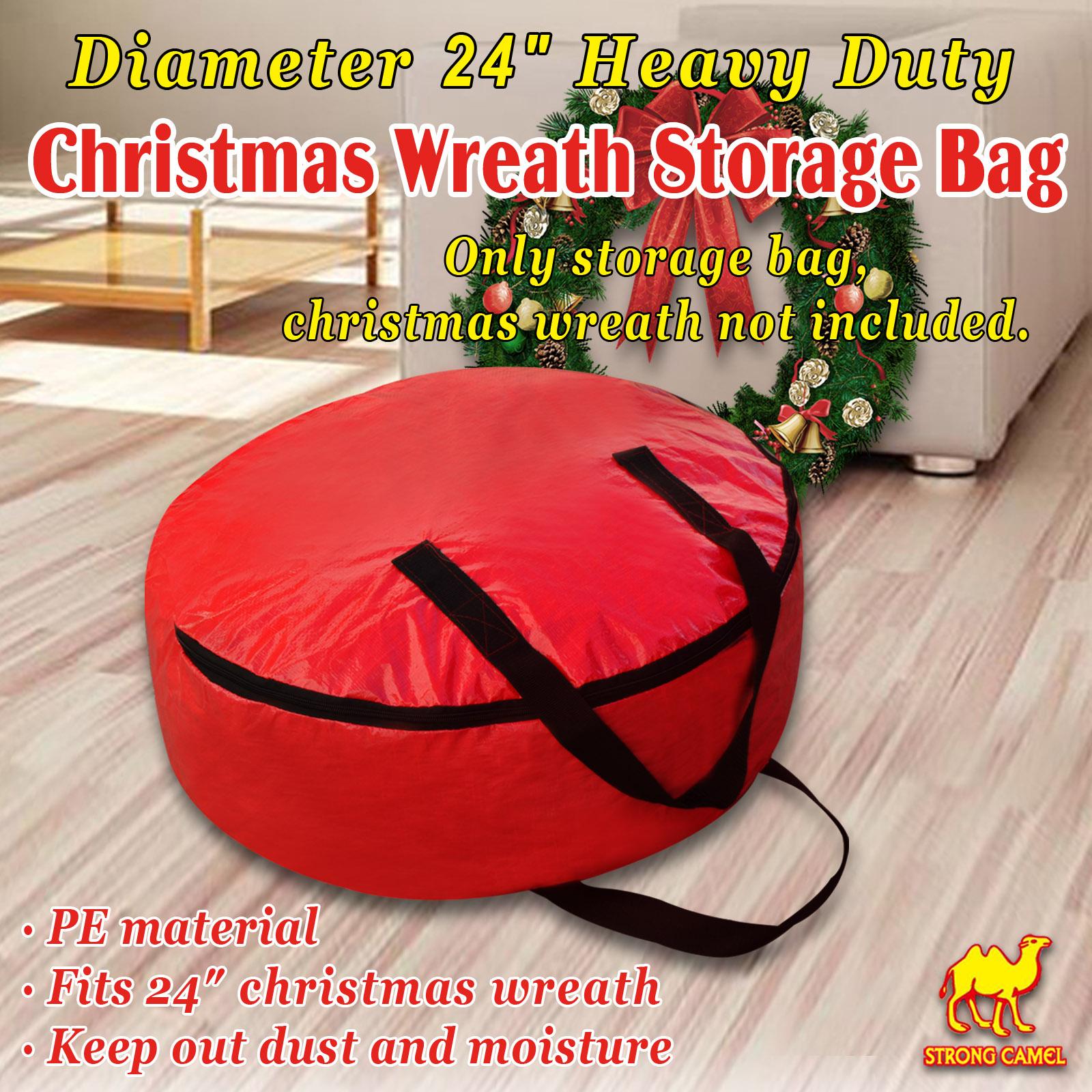 "Heavy Duty Christmas Wreath Storage Bag w Handles for 24/"" 30/"" Wreath Clean up"