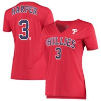 Women's 5th & Ocean by New Era Bryce Harper Red Philadelphia Phillies Name & Number V-Neck T-Shirt