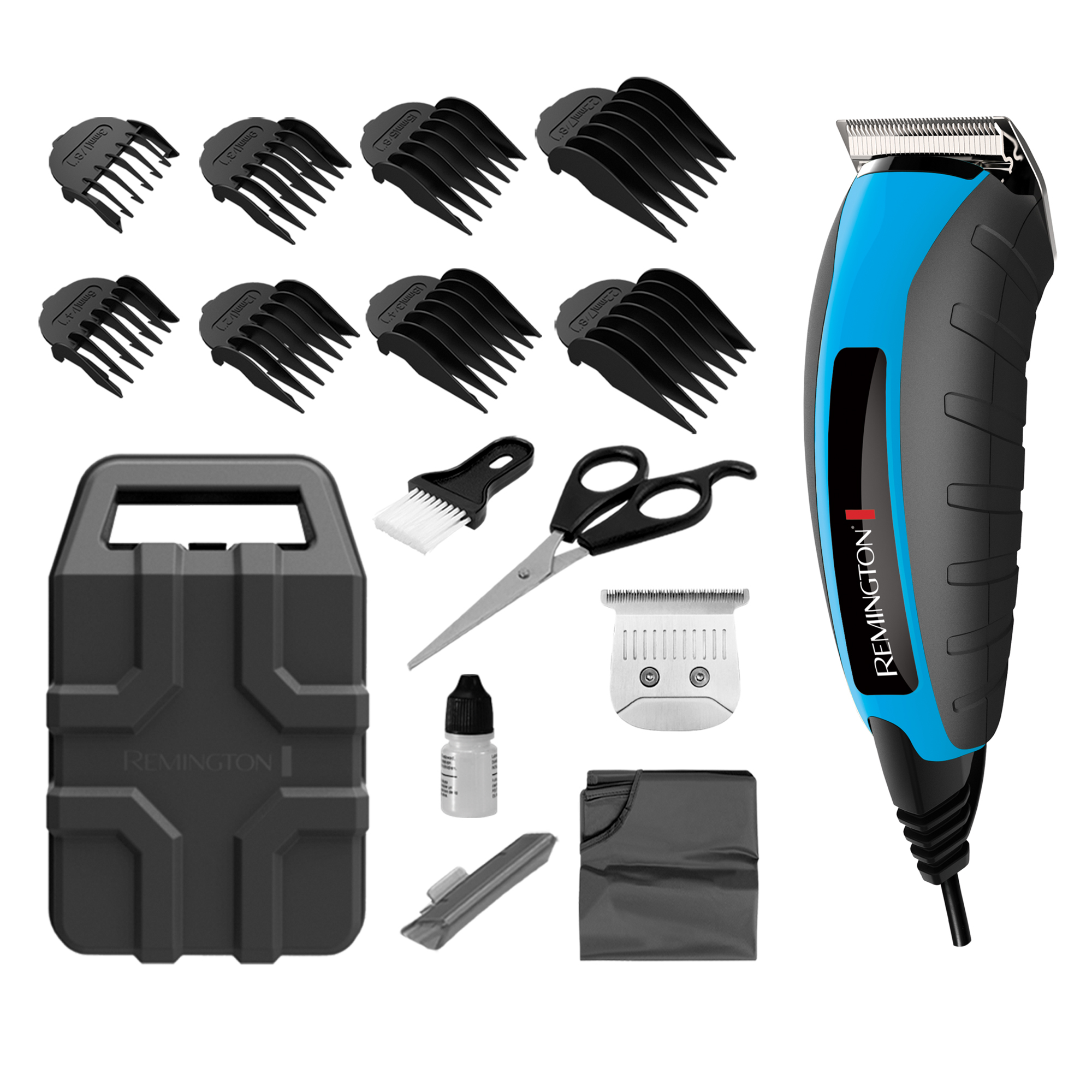 Remington Virtually Indestructible Barbershop Hair Clipper 15-piece Kit, Blue/Black, HC5850A