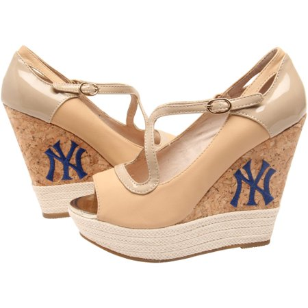 Cuce Cuce Shoes New York Yankees Womens Winning Wedge Tan 11