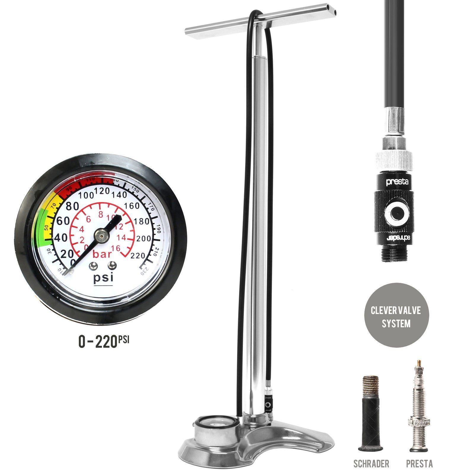 Click here to buy High Pressure Bicycle Bike CNC Alloy Floor Air Pump Gauge 220psi by Airbone.