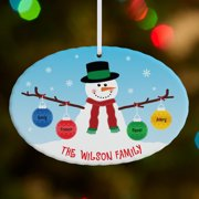 Personalized Whimsical Snowman Large Oval Christmas Ornament