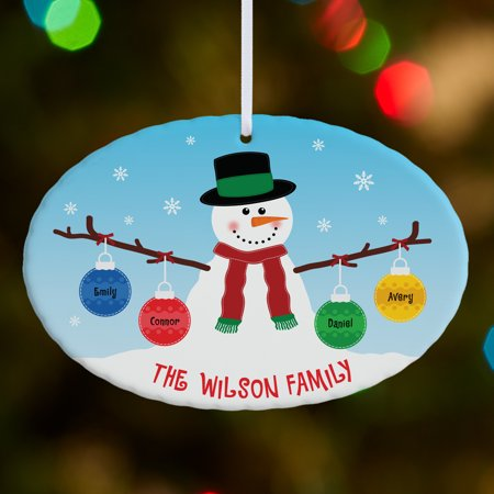 Personalized Whimsical Snowman Large Oval Christmas Ornament Personalized Snowman Ornament