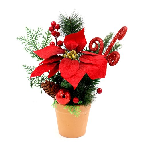 The Holiday Aisle Decorative Christmas Holiday Poinsettia Centerpiece in Pot