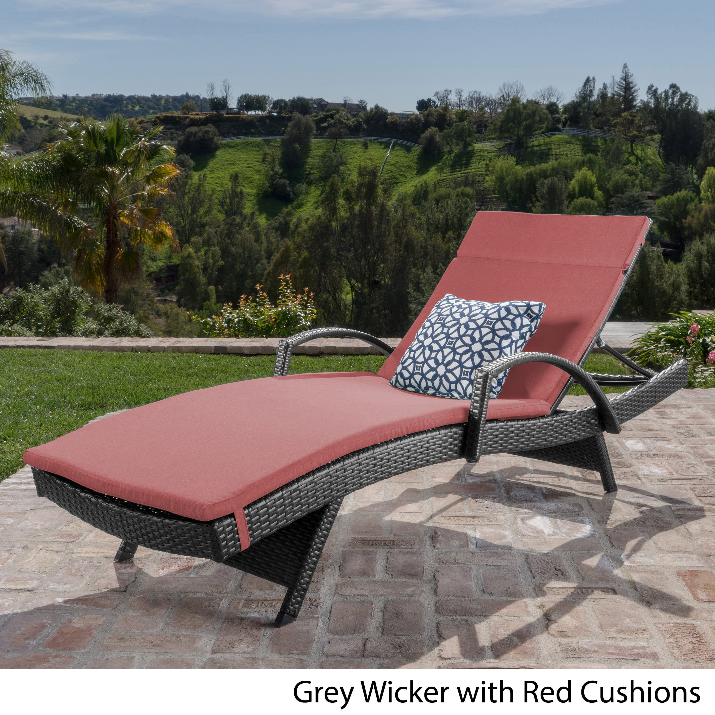 Christopher Knight Home Toscana Outdoor Wicker Armed Chaise Lounge Chair with Cushion by