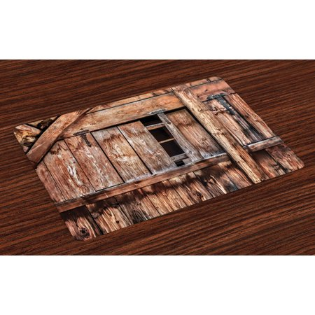 Rustic Placemats Set of 4 Abandoned Damaged Oak Barn Door with Iron Hinges and Lateral Cracks Knock Theme, Washable Fabric Place Mats for Dining Room Kitchen Table Decor,Pale Rosewood, by Ambesonne