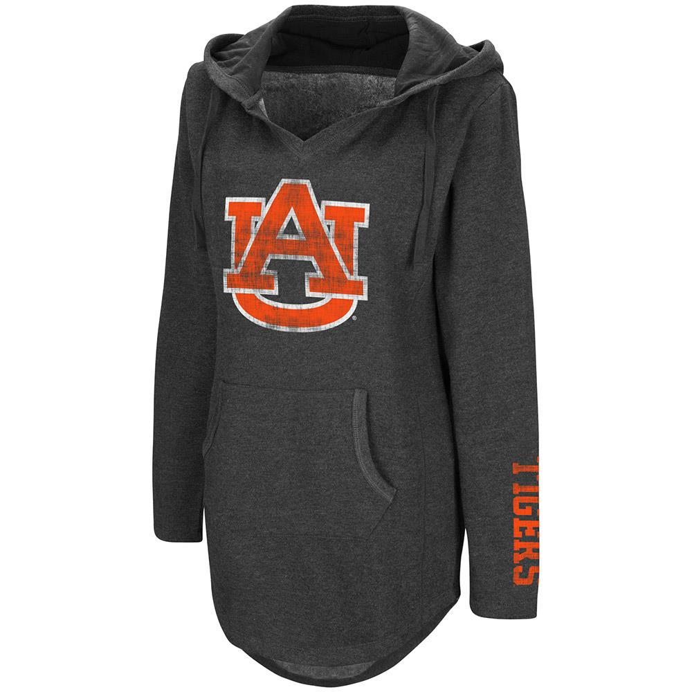 Womens Auburn Tigers Walkover V-Neck Tunic Pull-over Hoodie