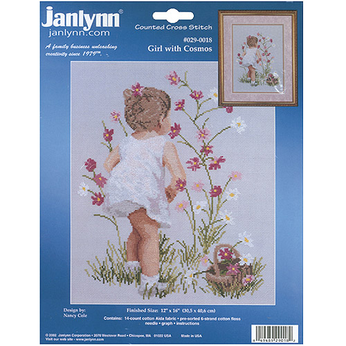 """Janlynn Girl With Cosmos Counted Cross Stitch Kit, 12"""" x 16"""", 14 Count"""