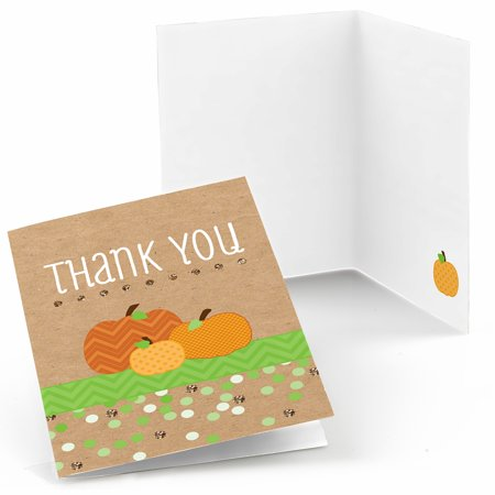 Pumpkin Patch - Fall & Halloween Baby Shower or Birthday Party Thank You Cards (8 count)