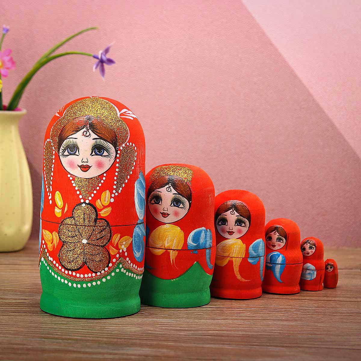 8/'/' 10PCS Wooden Russian Nesting Doll Matryoshka Babushka Hand Painted Toy Gift